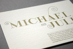 gold letterpress wedding invite