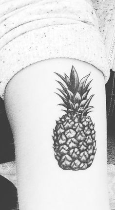 Pineapple Tattoo symbolic for friendship done by Emily Anne at Studio City Tattoo & Piercings