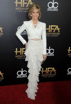 Jane+Fonda+Wears+A+Crop+Top+And+Mesh,+Is+Peak+Crop+Top+Goals