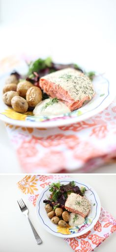 The Colorful Living Project: Mustard & Dill Yogurt Baked Salmon with Potatoes & Greens