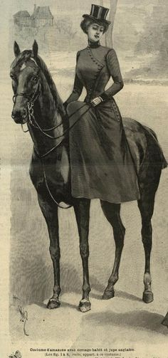 Never seen a Victorian side saddle costume stylized like this before. Interesting buttons