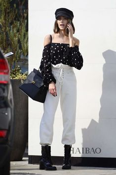 Loving the polka dots and high waisted ruffled pants with my hat!