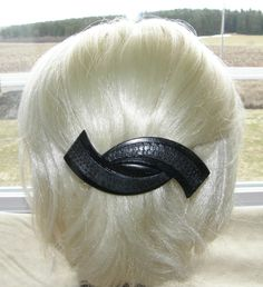"VTG HAIR CLIP GRIP HEAD PIECE BARRETTE ART DECO BLACK PLASTIC CARVED 4½"" FRANCE 35$"