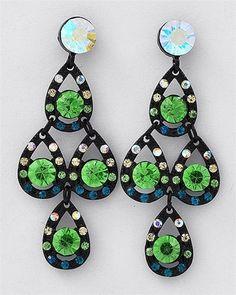 Luxe Beauty Supply - Black Nickel Tone Green Rhinestones Post Earring Set (http://www.lhboutique.com/black-nickel-tone-green-rhinestones-post-earring-set/) #FashionJewelry, #LuxeBeautySupply, #FashionAccessories