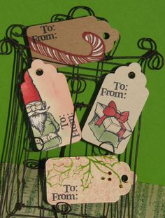 Club Scrap Gnome for the Holidays Blog Hop - hand-stamped gift tags