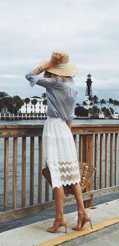 #summer #fashion / white crochet skirt
