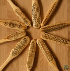 chipcarving on wooden spoons
