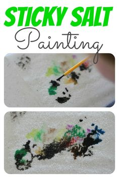 Sticky Salt Painting:  When the Watercolors touch the salt, the paint takes on a life of its own!