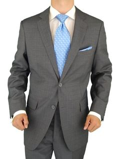 Presidential 2 Button Mens Suit Italian Style Business Suit Gray Windowpane
