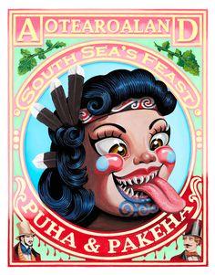 Puha & Pakeha art by Lester Hall Maori Designs, Tunnel Book, New Zealand Art, Nz Art, Maori Art, Kiwiana, Visionary Art, Vintage Labels, Beach Art