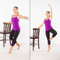 At-Home Barre Workout - 7 ballet-inspired moves to lift, lengthen, and tone—tutu optional! Seven ballet-inspired moves to lift, lengthen, and tone—tutu optional Barre Exercises At Home, Chair Exercises, At Home Workouts, Barre Workouts, Fitness Exercises, Barre Moves, Pilates Workout, Ballet Barre Workout, Pilates Barre