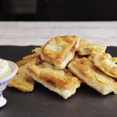 Sliced eggplant, breaded in beer batter and pan fried make a savory french pastry perfect for dipping into a mustard chive remoulade.
