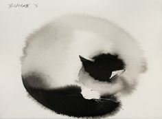 New Ethereal Watercolor and Black Ink Cats That Fade into the Canvas by Endre Penovác