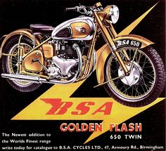 'Vintage BSA Golden Flash recreated by MotorManiac ' by MotorManiaTees Norton Motorcycle, Motorcycle Logo, Motorcycle Posters, Motorcycle Design, British Motorcycles, Vintage Motorcycles, Vintage Bikes, Vintage Cars, Classic Bikes