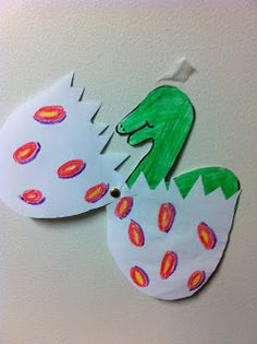 Dino crafts--hatching dino egg-maybe do paper plate egg and dino pre-cuts