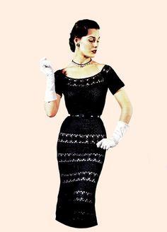 Vintage 50s Crochet Lace Sheath Dress