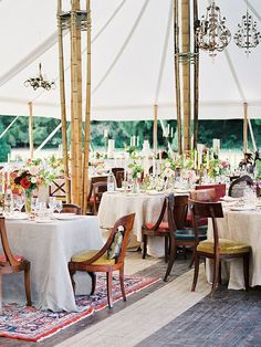 Tented outdoor wedding reception decor ideas
