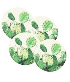 Weiß/Kaktus. Glasuntersetzer aus Pappe mit aufgedrucktem Kaktusmotiv. Durchmesser ca. 10 cm.