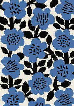 Wallpaper modern graphics textile design new ideas Boho Pattern, Pattern Floral, Motif Floral, Pattern Art, Flower Patterns, Floral Prints, Floral Print Design, Flora Pattern, Blue Patterns