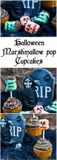 Check out how you can make these cute and easy Frankenstein & Jack O'Lantern marshmallow pops. You can also use them as cupcake toppers! From cakehwiz.com #halloween #cupcakes #marshmallows