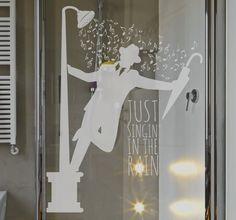 Sticker paroi douche Singing in the rain Door Stickers, Glass Partition Designs, Bathroom Stickers, Metal Plaque, Singing In The Rain, Glass Bathroom, Shower Enclosure, Dream Bathrooms, Stickers