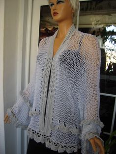 Handmade knitted crochet oversized kimono/festival cardigan/sweater in sparkle soft grey gift idea for her women clothing  by Golden Yarn