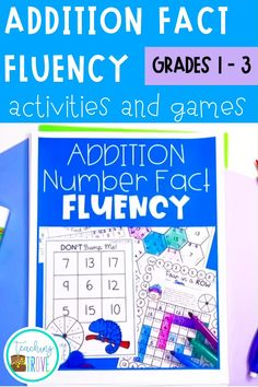 Teach addition strategies to your first grade and second grade students. Use the addition flip book to teach strategies such as count ons, doubles, near doubles, making a ten. Practice each strategy with five fun and motivating printables. This math pack is perfect for developing fact fluency and can be used in math centers, for partner work, morning work or extra activities for early finishers. Great for homeschool too. #mathgames #additionstrategies #additiongames #fall2021