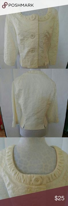 "Spense ivory damask cropped jacket This ivory damask cropped jacket by Spense features 3/4 length sleeves, a scooped neckline with fluted trim, and 3 button closure. Fully lined in 100% acetate. This jacket looks perfect when dressed up with trousers & pearls and adds polish when dressed down with jeans & loafers.   Material: 77% cotton/17% polyester/6% Spandex.  Length is approx. 19.5"" in back.  In excellent used condition (no rips, tears, or visible stains.) Spense Jackets & Coats Blazers"