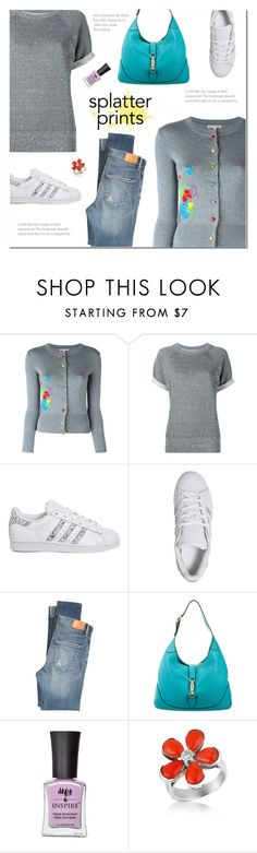 """""""Splatter Prints (2)"""" by polly301 ❤ liked on Polyvore featuring Olympia Le-Tan, Current/Elliott, adidas, Citizens of Humanity, Gucci, Defy & Inspire, Del Gatto and paintiton"""