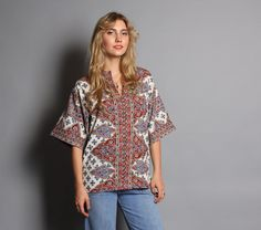 70s DASHIKI TOP / Ethnic Hippie Tunic Shirt by luckyvintageseattle, $38.00