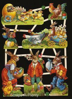German Victorian Style Embossed Scrap Die Cut- Easter Bunny Chicks & Eggs EF7399