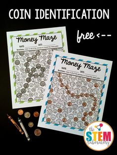 Free money mazes! Great for teaching coin identification in first grade or second grade. Would be a fun math center or money game.