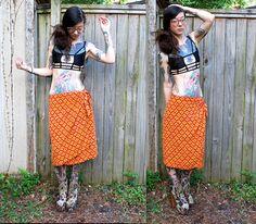 Vintage / / Japanese Silk Wrap Skirt / / Gypsy rot von ThriftShark
