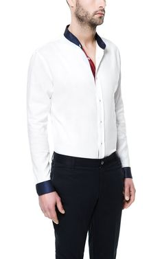 SHIRT WITH MAO COLLAR AND CONTRAST DETAILING from Zara