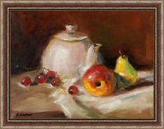 Натюрморт с чайником и фруктами (по мотивам). Олеся Лопатина. Холст 30*40см, масло.