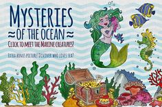 Mysteries of the ocean Watercolor by Art Loft on Mermaid Clipart, Art Loft, Adventure Of The Seas, Underwater Creatures, How To Make Tshirts, Graphic Illustration, Print Design, Mystery, Banner