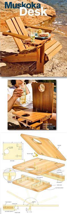 Making Adirondack Chair Desk - Outdoor Furniture Plans & Projects | WoodArchivist.com