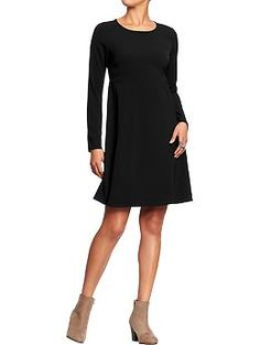 Women's Poplin-Crepe Long-Sleeve Dresses | Old Navy