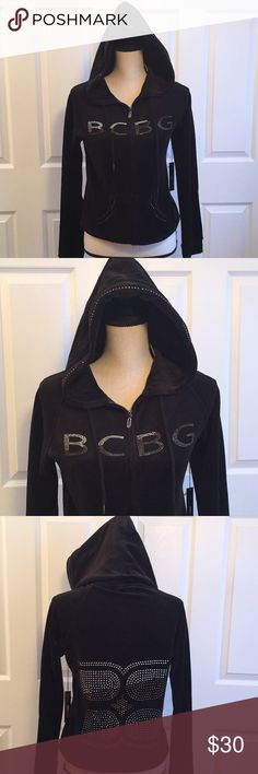 BCBGMAXAZRIA Velour Top BCBGMAXAZRIA Velour Top in Black. Black with a tint of green. Bling ( rhinestones) on front and back. Zip up front. Hooded. BCBGMaxAzria Jackets & Coats