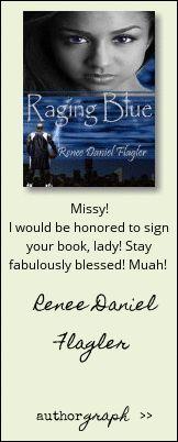 "Authorgraph from Renee Daniel Flagler for ""Raging Blue"""