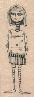 rubber  stamp  Goth Skinny Girl   original design mary vogel lozinak 19161