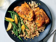 Make a Tangy-Sweet Glazed Chicken With Couscous and Green Beans in 40 Minutes   Get the oil nice and hot (but not smoking hot) to get a good sear on the chicken thighs. Hot oil prevents sticking and helps create a flavorful base for the tangy-sweet orange glaze. While the chicken rests, the sauce finishes itself, so you can make the couscous and green beans. Small chicken thighs work best here so each person gets two; four larger thighs work, too, but need an extra couple minutes in the…