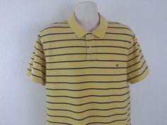 Ralph Lauren MFG Men's Polo Rugby Shirt 2XL Yellow Blue Striped Short Cotton EUC #RalphLaurenMFG #PoloRugby #ebay #RalphLaurenMFG #PoloRugby