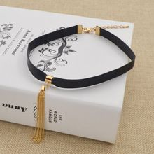 New Style Black Leather Choker Bib Statement Chunky Gold 7cm Tassel Chain Collar Necklace Womens Jewelry(China (Mainland))
