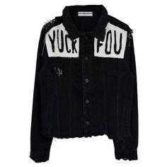 YUCK FOU BLACK DENIM JACKET (11.090 RUB) ❤ liked on Polyvore featuring outerwear, jackets, denim jacket and jean jacket