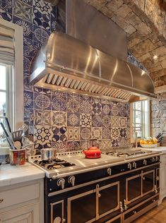 Blue and white backsplash