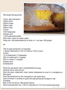 Romerige Pampoentert Kos, Tart Recipes, Dessert Recipes, Cooking Recipes, Wow Recipe, Pumpkin Tarts, Sweet Tarts, Sweet And Salty, South African Recipes