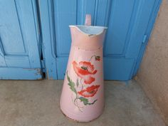Antique French enamel water pitcher jug