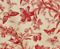 Bird Red Toile Pattern