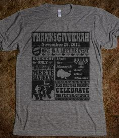 Thanksgivukkah Vintage Poster Athletic Thanksgiving TShirt   #thanksgiving, #hanukkah, #menorah, #thanksgivukkah